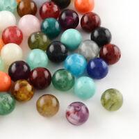 50x Round Imitation Gemstone Acrylic Beads For DIY Jewelry Making 10mm Hole 2mm
