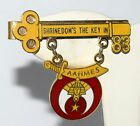 Vtg 1983 Shriners Gold & Red Enamel Tie Bar Marked Shrinedoms the Key in AAHMES