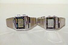 2X RETRO MENS CASIO DB 510 DB 580 SILVER METAL DATA BANK WATCHES 252 1425 MODULE