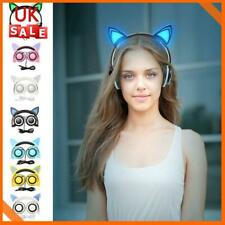 Wired Cat Ear Headphones Bluetooth Headset LED Lights Earphone Kids Children