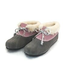Sperry Emory Bootie Duck Slippers Women's Size 5 Pink Grey Suede Faux Fur