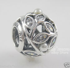 LUMINOUS LEAVES Authentic PANDORA Silver/WHITE PEARL/Clear CZ Charm/Bead NEW