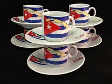 Espresso coffee cup set. 12 pc cup and saucer Cuban Flag Tacita Cafesito Bandera
