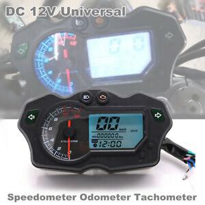 12000RPM 12V Motorcycle 7Color Backlight LCD Digital Speedometer Tacho Odo Gauge
