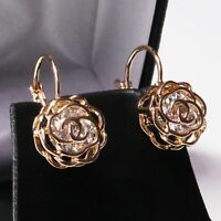 Sparkling Round Cubic Zirconia Stud Earring Women Flower Jewelry 14K Gold Plated