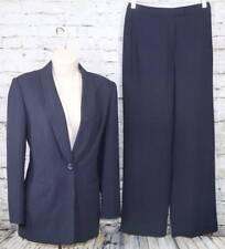 JONES NEW YORK SUIT Dark Black Blazer/Pants pinstriped Lined 1 button 4 Mint