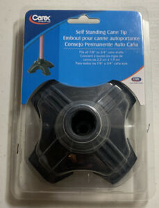 Self Standing Cane Tip Sturdy Non-Slip Rubber Stabilizing Four Pronged
