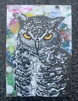 Original ACEO Miniature Acrylic Painting, Owl, Abstract, Expressionism by ELM