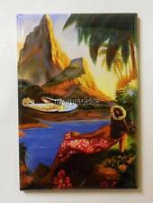 "Vintage Travel Tropical Hawaiian Airplane Palm 2"" x 3"" Fridge MAGNET"