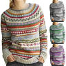 Womens Xmas Fair Isle Sweater Long Sleeve Pullover Knitted Jumper Tops Plus Size