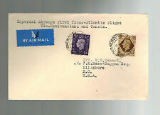 1939 Bournemouth England First Flight Cover to USA FFC via Imperial Airways