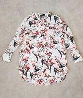 M&S Collection Size 14 Long Tunic Shirt Blouse Floral Botanical