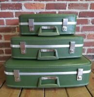 Vintage Nesting Luggage Suitcase Set of 3 Avocado Green Excellent Fingerhut