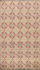 Modern Gabbeh Kashkoli Geometric Oriental Area Rug Hand-knotted Home Decor 6'x8'