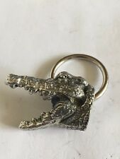 Alligator Head TG70 Made From Solid Fine English Pewter on a Scarf Ring