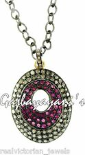 Scintillating Ruby Rounds & Rose Cut Diamond Studded Antique Look Necklace