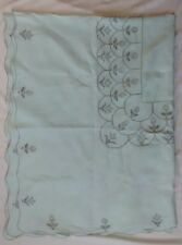 Mint Green Linen Hand Cross Stitch Scalloped Edge Rectangle Tablecloth 72x54