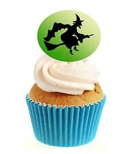 HALLOWEEN Witch Silhouette (1) 12 Edible Stand Up wafer paper cake toppers