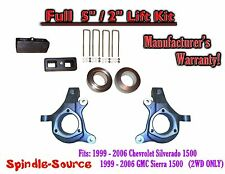 "1999 - 2007 Chevy Silverado GMC Sierra 1500 FULL Spindle 5"" Lift Kit 5"" / 2"" NBS"