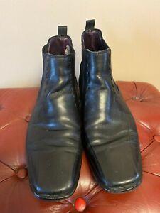 mens daniel black leather casual chelsea style boots eu size 43 square toe