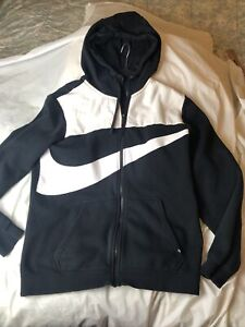 Black/White Nike Zip Up Hooded  Large
