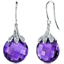14 Kt White Gold Amethyst Diamond Earrings (11.81 cttw)