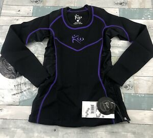 Kutting Weight Sauna Suit Long Sleeve Shirt for Women Black Purple Trim Size M