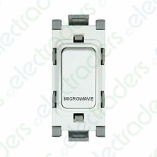 Deta G3561 Grid Switch 20 Amp Double Pole marked 'Microwave' (White)