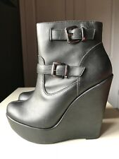 New Look Designer Black Women Platform Ankle High Heel Shoe Boot Size 4 37