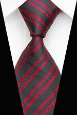 Regali per gli uomini da uomo classico doppio DOPPIA STRISCIA di seta a righe cravatta tie nero rosso