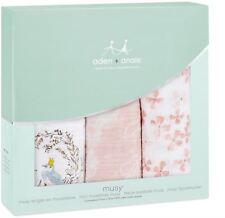 Aden + Anais CLASSIC MUSY 3 PACK BIRDSONG Baby Feeding Bibs Burp Cloths BNIP