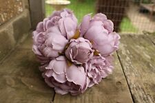 5 x VINTAGE DUSKY LILAC SILK PEONY FLOWERS & BUDS TIED BUNCH / SMALL BOUQUET