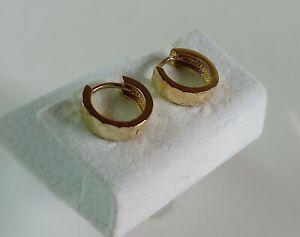 9ct Gold Diamond Cut Hinged Huggy Earrings. 12mm Diameter.