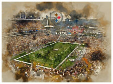"""Pittsburgh Steelers Poster Watercolor Art Print Man Cave Decor 12x16"""""""