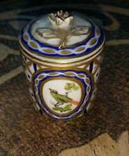 More details for miniature antique porcelain cabinet pot and cover, hand painted, gilded, birds