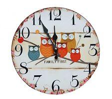 Eule Vintage Wanduhr Uhr Küchenuhr Analog Zimmer Shabby Süß Family First Kinder