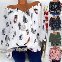 Womens Short Sleeve V Neck T-Shirt Boho Floral Loose Tunic Blouse Tops Plus Size