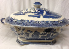 JOHNSON BROTHERS ENGLAND EARTHENWARE WILLOW BLUE RECTANGULAR TUREEN 16 1/2""