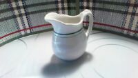 SYRACUSE  RESTAURANT CHINA SMALL WHITE WITH GREEN STRIPE CREAMER PITCHER
