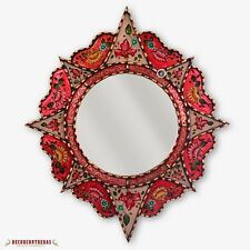"Decorative Round Mirror 25.6"", Peruvian Painting on glass, Wall Accent Mirrors"