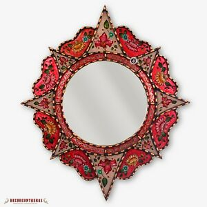 """Decorative Round Mirror 25.6"""", Peruvian Painting on glass, Wall Accent Mirrors"""