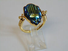 ANTIQUE FAVRILE ART GLASS TIFFANY BLUE SCARAB IN VERMEIL STERLING SWIVEL RING
