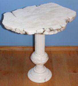 Italian Carrara Marble Table Carved Column THICK Slab Top 1970s or earlier