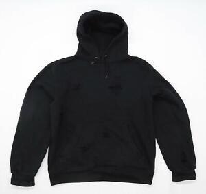 Preworn Mens Size S Cotton Blend Black Ripped Hoodie