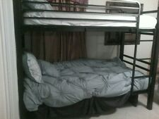 (SLIGHTLY USED) Twin Over Twin Metal Bunk Bed, Black