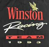 Vintage Mens XL 1993 NASCAR Winston Car Racing Team Black T-Shirt w/ Pocket