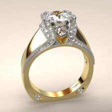 White Sapphire Generous 18K Yellow Gold Filled Women Engagement Ring Size 6-10