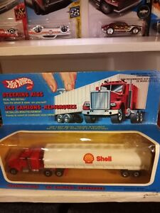 Vintage Hot Wheels Steering Rig SHELL PETERBILT TANKER unpunched FRANCE