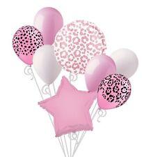 Pink Cheetah Leopard Print Balloon Bouquet Set Birthday Baby Shower Animal 8pc