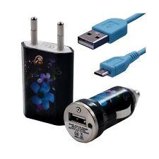 Mini Chargeur 3en1 Auto et Secteur USB avec Câble Data avec Motif HF16 pour Alca